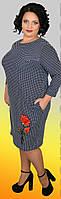 Стильное женское платье в горошек с аппликацией роза