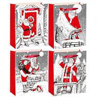 """Пакет подарочный бумажный """"Граффити дед мороз"""", 40*55*15см., цена за уп., в уп.12шт (240шт)(R22539)"""