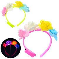 Аксессуары для праздника, обруч для волос, цветы, свет, батар.(таб), в пак.(200шт)(MK1340)