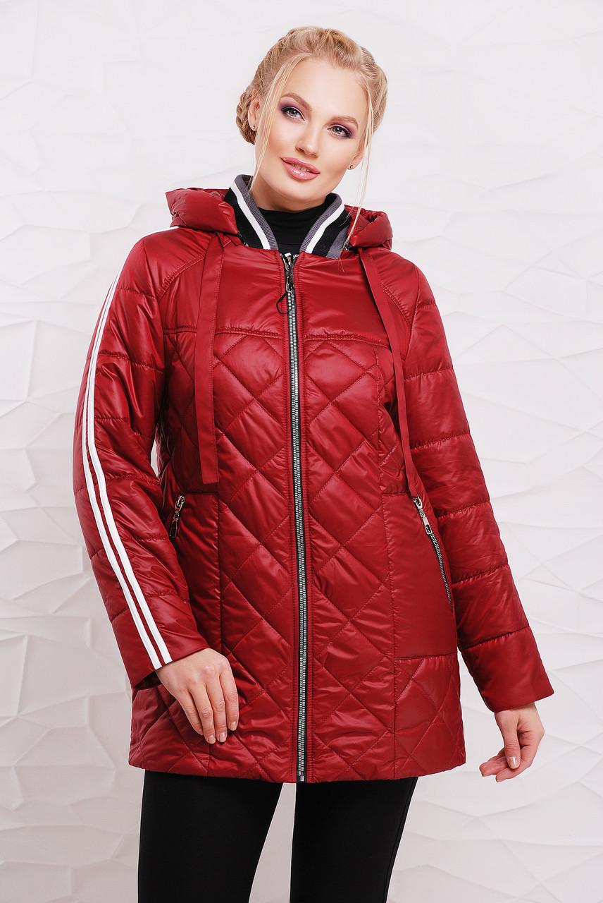 Женская демисезонная удлиненная куртка 206 / размер 50-60 / цвет вишня