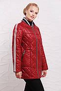 Женская демисезонная удлиненная куртка 206 / размер 50-60 / цвет вишня, фото 2