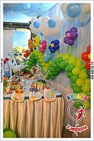 Оформление зала и кенди бара детского дня рождения.