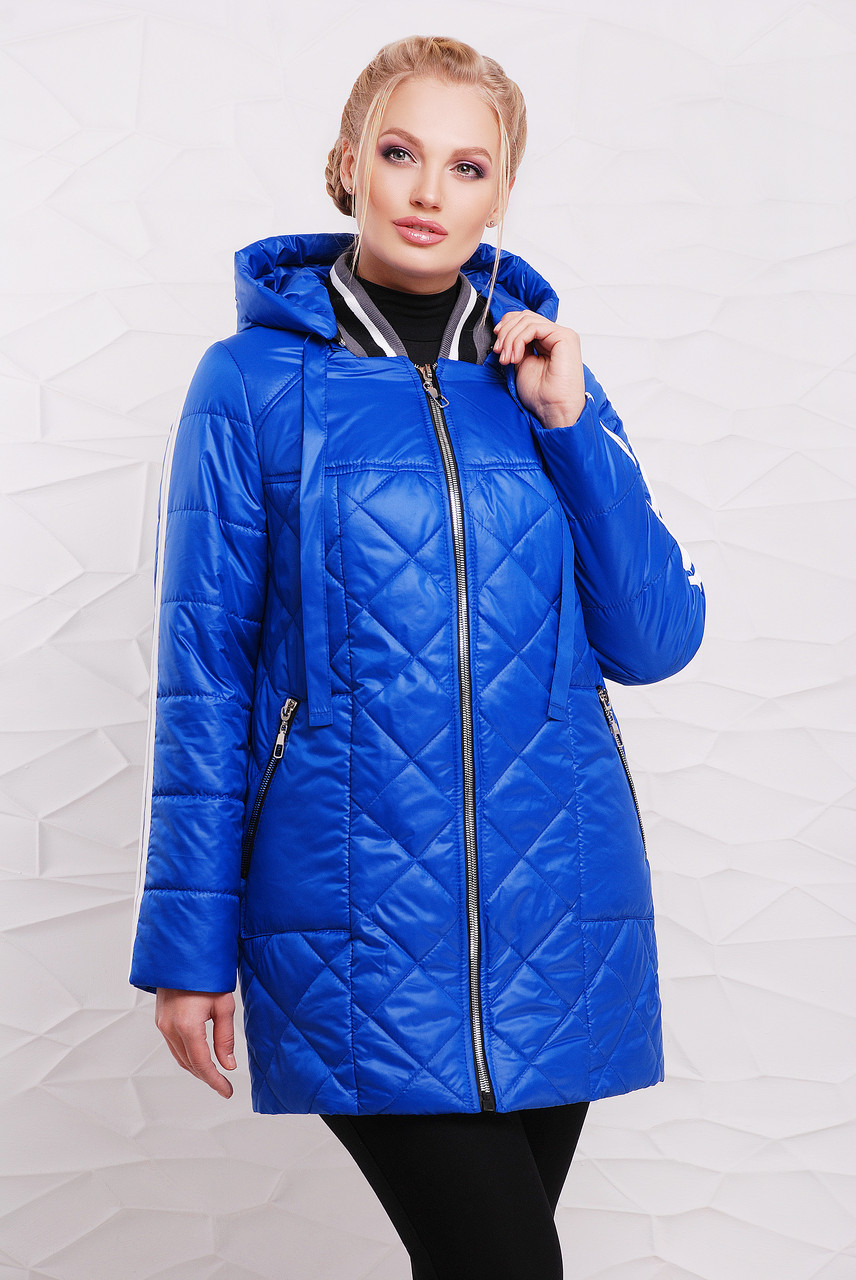 Женская демисезонная удлиненная куртка 206 / размер 50-60 / цвет электрик