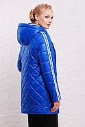Женская демисезонная удлиненная куртка 206 / размер 50-60 / цвет электрик, фото 2