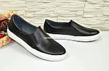 Туфли женские на утолщенной белой подошве из натуральной черной кожи, фото 2