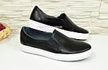 Туфли женские на утолщенной белой подошве из натуральной черной кожи, фото 3