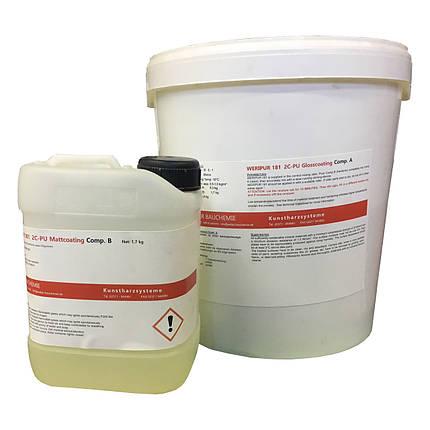 Лак поліуретановий, матовий Weripur® 180 2К, пак. 10 кг. Лак полиуретановый, водный, матовый., фото 2