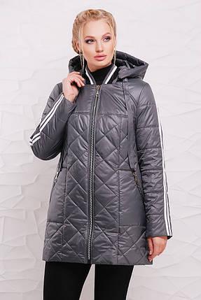 9980c0715b5c Женская демисезонная удлиненная куртка 206   размер 50-60   цвет сталь,  фото 2