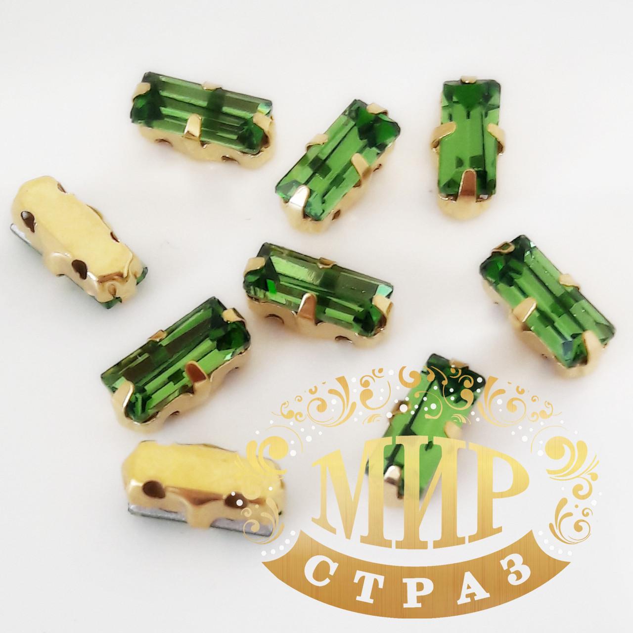 Пришивной прямоугольник в золотых цапах, 3x7 мм, Green