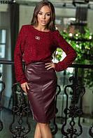 Женская юбка кожзам с лампасами