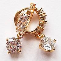 Серьги кольца с подвесками, прозрачные фианиты. Ювелирная бижутерия Xuping Jewelry, позолота 18К.