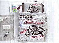"""Полуторный комплект постельного белья с детским рисунком """"Мотоцикл"""" 150х220 из бязи"""