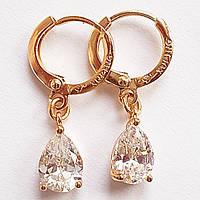 """Серьги """"Капелька"""" с фианитом (прозрачный). Ювелирный сплав, позолота 18К. Xuping Jewelry"""