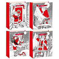 """Пакет подарочный бумажный """"Граффити дед мороз"""", 26*32*10см., цена за уп., в уп.12шт (600шт)(R22506)"""