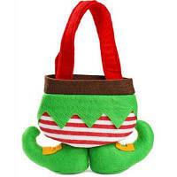 Рождественский декоративный мешок чулок для подарков Зелёный