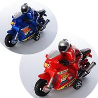 Мотоцикл инерционный 16см, с фигуркой человека, 2 цвета, в пак. 19*17*6см(288шт)(2031A)