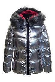 Куртка женская серебристая с серым мехом FASHION CLASSIC8801 скидка