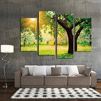 4шт Закат дерево пейзаж печать на холсте стикер стены Цветной