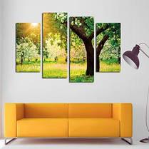 4шт Закат дерево пейзаж печать на холсте стикер стены Цветной, фото 3