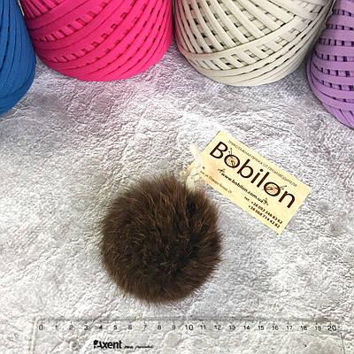 Хутряні помпони з хутра кролика, колір коричневий
