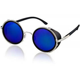 Модный круглый дизайн стильные солнцезащитные очки с PC линзами и удобной рамкой из высоколегированного сплава - Синий