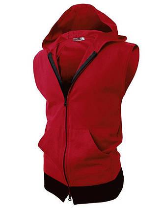 Мужская спортивная жилетка с капюшоном красная, фото 2