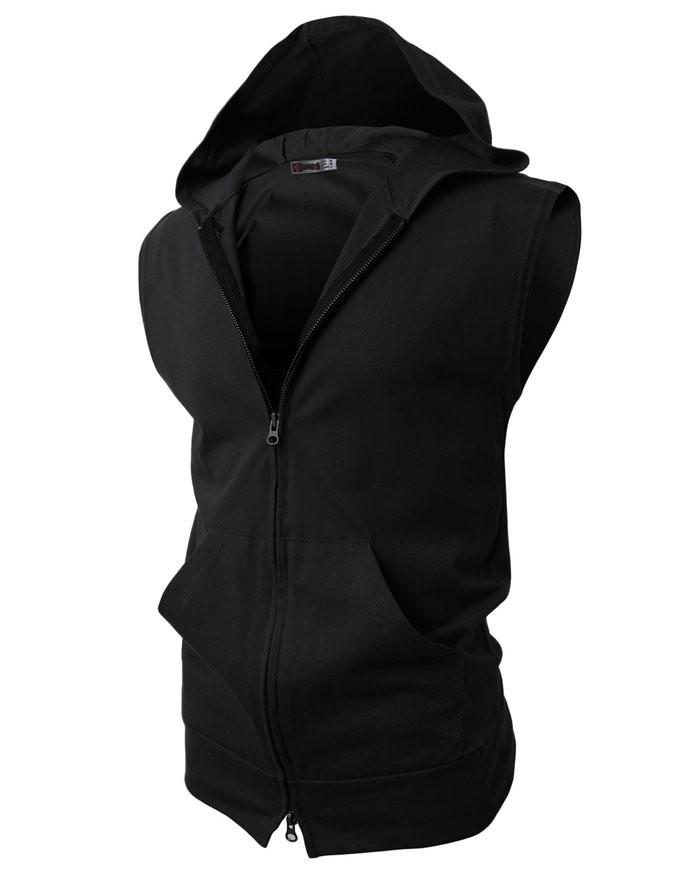 Мужская спортивная жилетка с капюшоном черная