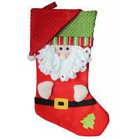 Рождественский декоративный мешок чулок для подарков Санта-Клаус Красный
