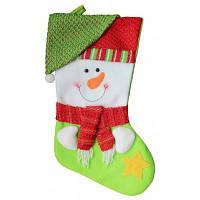 Рождественский декоративный мешок чулок для подарков дизайн снеговик Зелёный