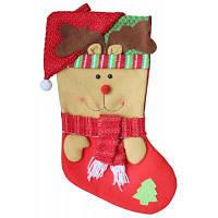 Рождественский декоративный мешок чулок для подарков с узором лось Цветной
