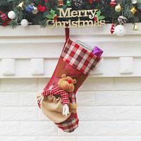 Рождественский декоративный мешок чулок для подарков дизайн медведь Цветной