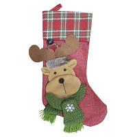 Рождественский декоративный мешок чулок для подарков дизайн лось Глубокий красный