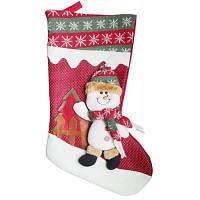 Рождественский декоративный мешок чулок для подарков дизайн снеговик Красный