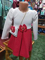 Нарядное  коралловое платье для девочки 2 - 5 лет.