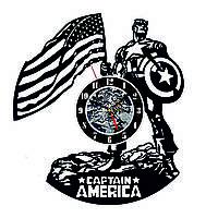 Настенные часы из виниловых пластинок LikeMark Captain America