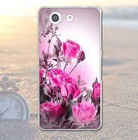 Оригинальный чехол бампер для Sony Xperia Z3 compact d5803 с картинкой Розовые розы