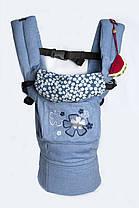 """Эргономичный рюкзак """"My baby"""" голубой джинс (цветочки)"""