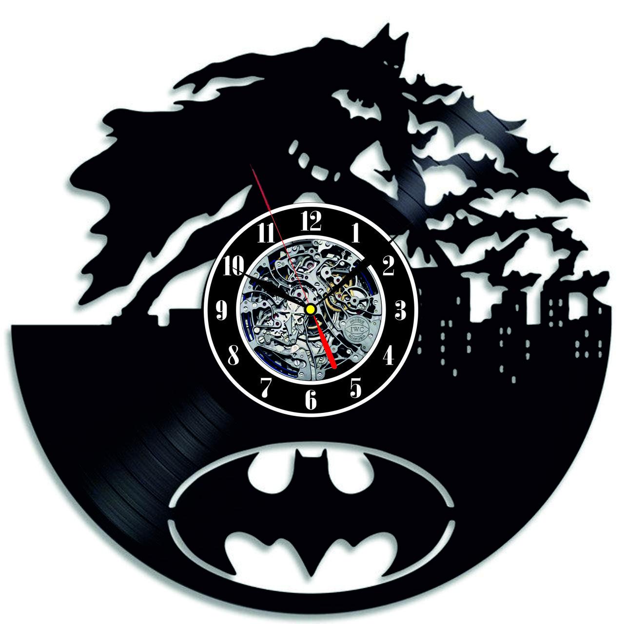 """Настенные виниловые часы """"Batman"""" современный дизайн"""
