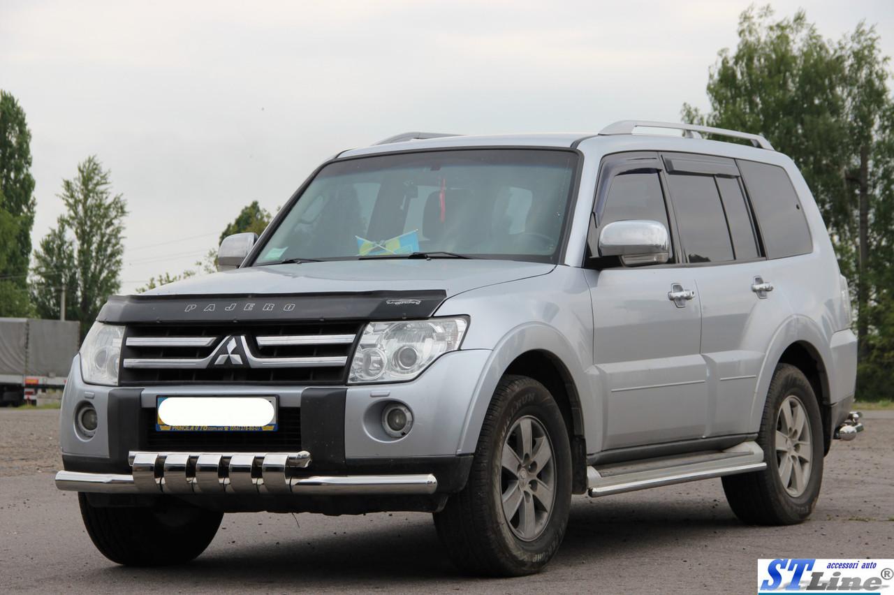 Защитная обвеса передняя для Mitsubishi Pajero Wagon IV (нерж.)