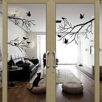Птица Ветке Дерева Наклейки Стены Термоаппликации Съемный Искусства Дома Росписи Чёрный