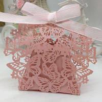 Декоративная коробка с бабочками для банкетов 20шт Цвет папайи