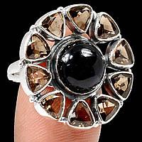Оникс черный и раухтопаз, серебро 925, кольцо, 818КО