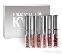 Жидкая матовая помада Kylie Holiday Edition серебро (набор из 6 оттенков)