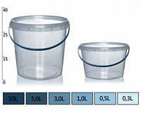 Ведерко прозрачное пищевое 0,2л. д12,9см. / 2,6см.
