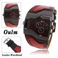 Oulm мужчины военные спортивные часы двойной movt Кварцевые наручные часы с Кожаный ремешок декоративными Суб-набор Красный