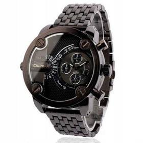 Oulm Популярные водонепроницаемые аналоговые мужские часы с двойным движением и круглыи циферблатом стальной браслет для часов - Чёрный