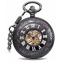 Винтажный Стиль механические карманные часы флип дизайн Кофейный