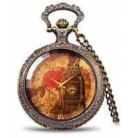 Ретро карманные часы с железная башня и пиона с рисунком круглый Циферблат 24360