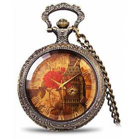 Ретро карманные часы с железная башня и пиона с рисунком круглый Циферблат