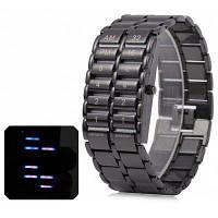 Уникальные бинарные LED часы цифровой дисплей времени черный Браслет из нержавеющей стали Чёрный